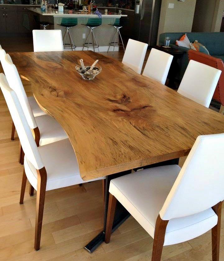 Bộ bàn ăn 8 ghế hiện đại, mặt bàn gỗ nguyên tâm thiết kế hiện đại