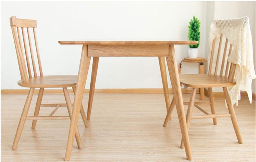 Mẫu 2: Bàn gỗ sồi tự nhiên 2 chỗ Mini cho 2 người
