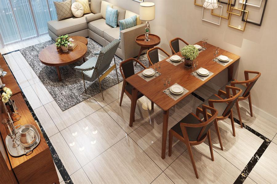Mẫu 2: bàn 6 ghế gỗ sồi