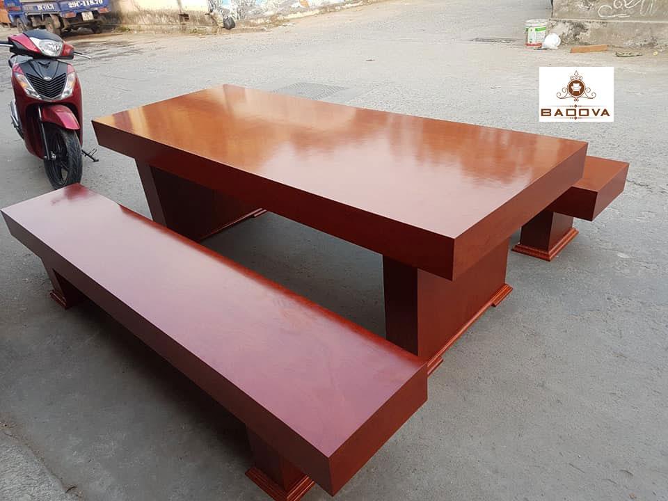 bộ bàn ăn nguyên tấm xoan đào