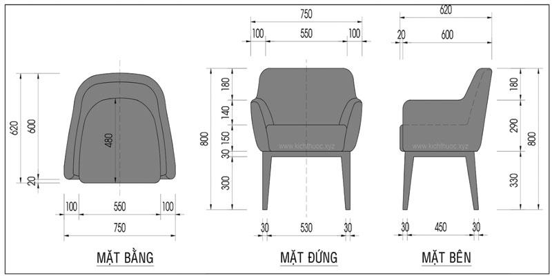 Thiết kế kích thước tiêu chuẩn sofa cafe đơn