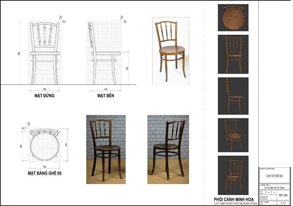 Kích thước tiêu chuẩn ghế cafe