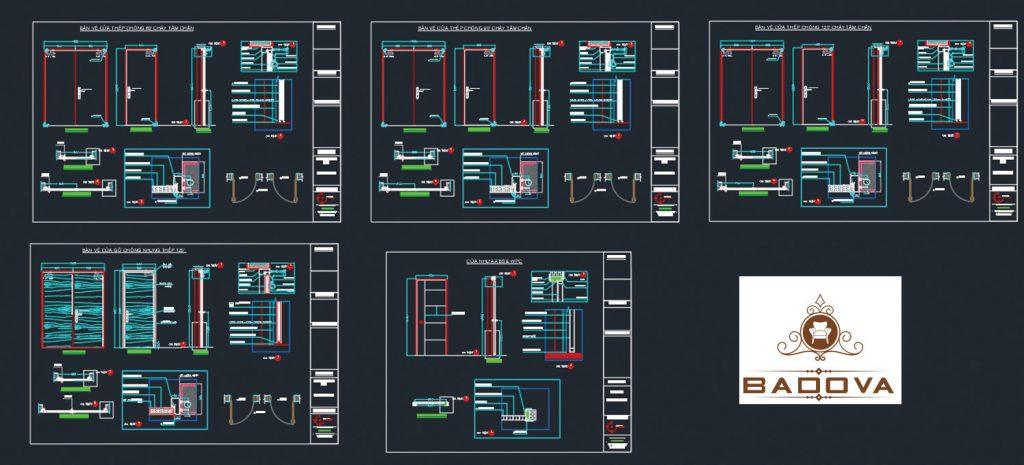 bản vẽ thiết kế các dòng cửa chịu cháy