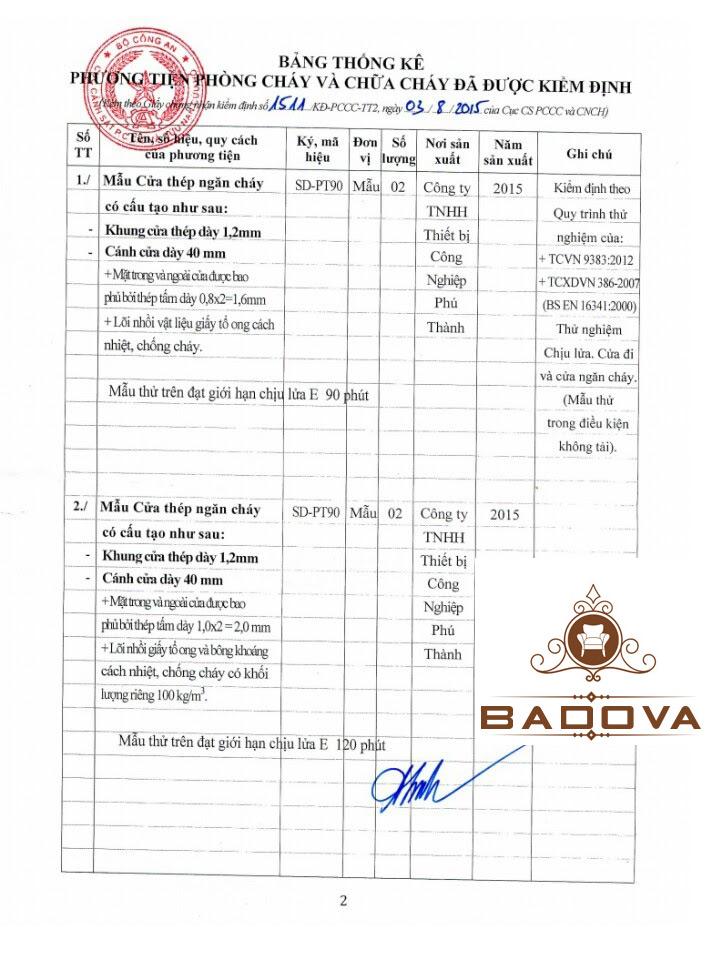 Giấy chứng nhận PCCC cho thương hiệu BADOVA