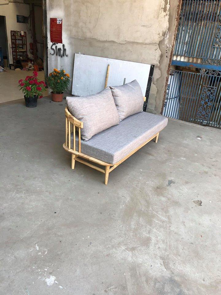 Dòng ghế văng gỗ 2 chỗ ngồi khung gỗ sồi