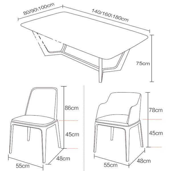 Kích thước ghế và bàn ăn mặt đá tiêu chuẩn