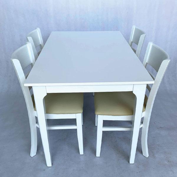 bộ bàn ăn 4 ghế cabin màu trắng
