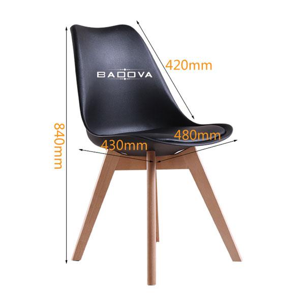 Kích thước của ghế eames đệm chân gỗ