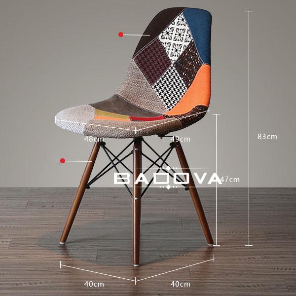 Kích thước thiết kế chi tiết dòng ghế eames thổ cẩm