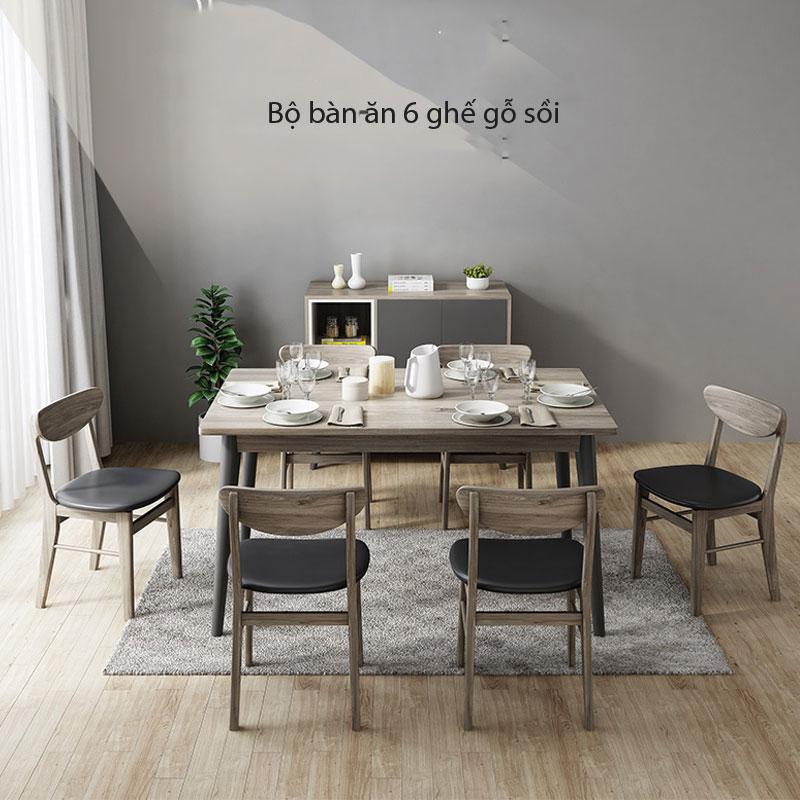 bàn ăn sử dụng chất liệu gỗ sồi nga, mỹ