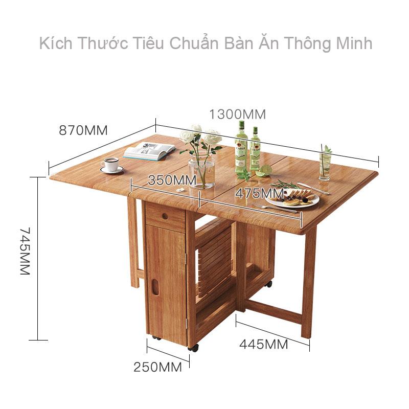 kích thước bàn ăn thông minh xếp gấp gọn