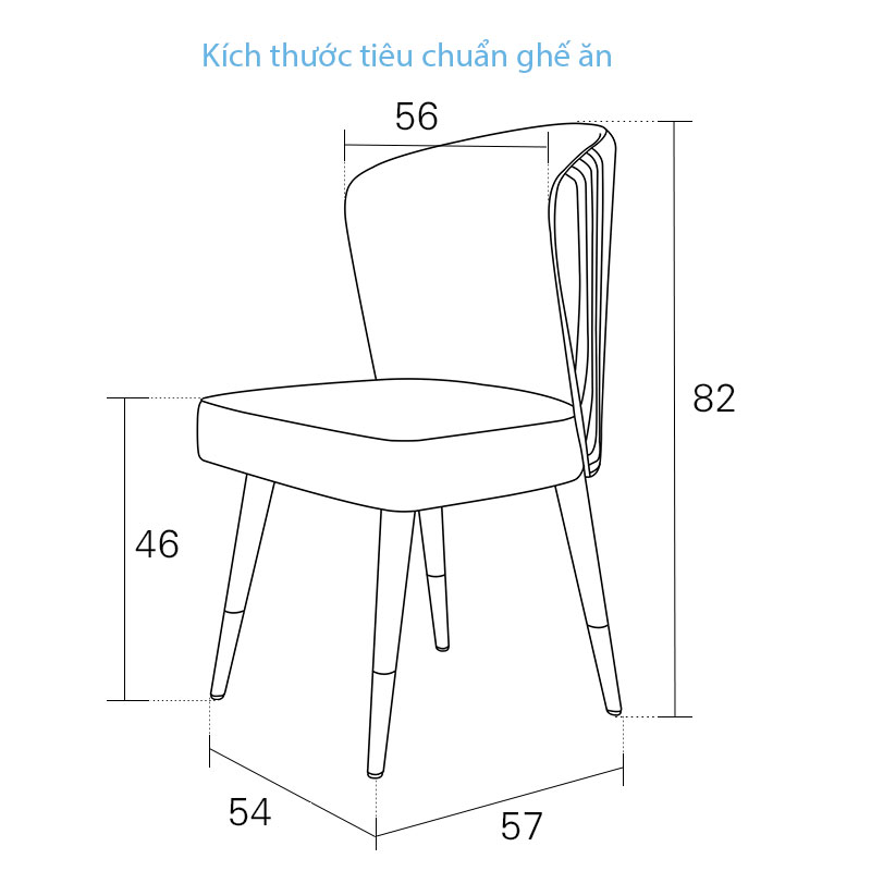 bảng kích thước tiêu chuẩn ghế ăn